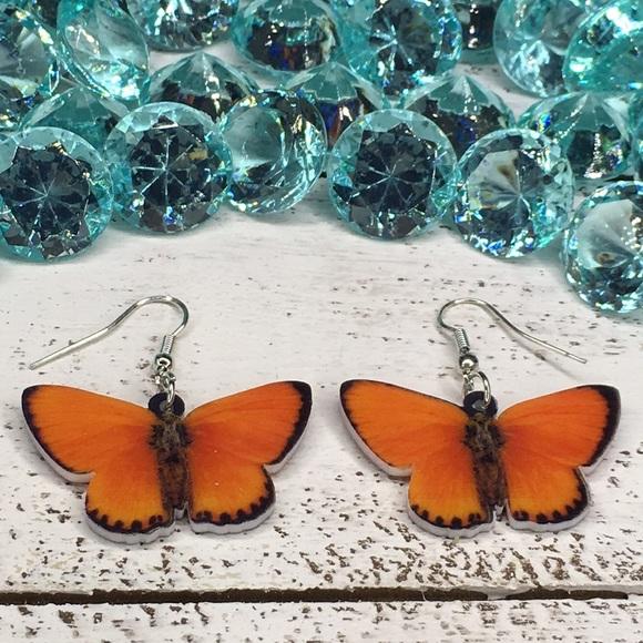 Jewelry - Copper Acrylic Butterfly Earrings